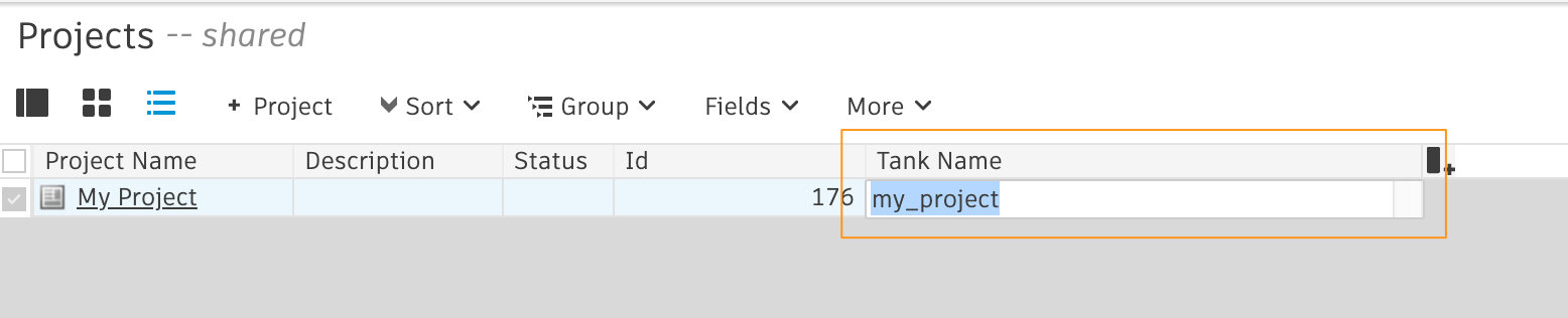 Clear the project tank name field