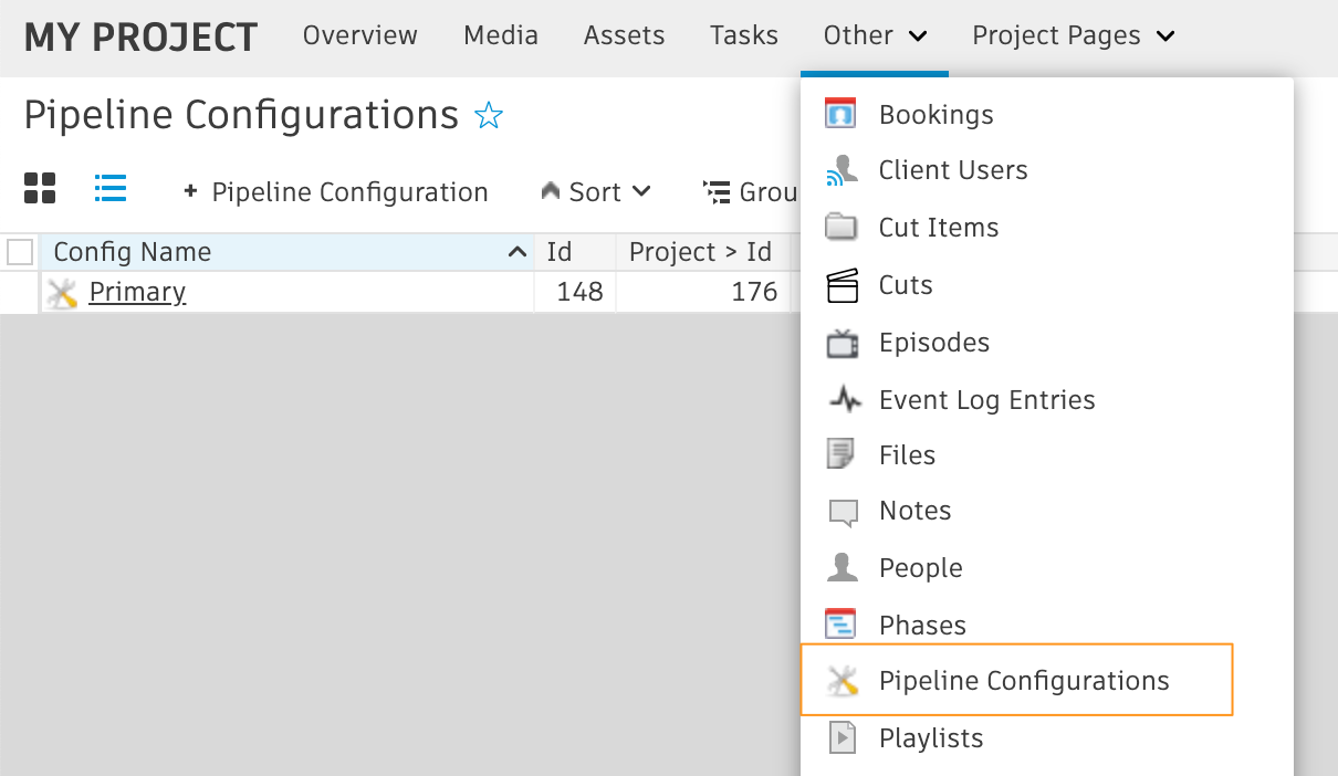 Access to the PipelineConfiguration entity page