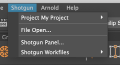 Shotgun Menu project actions