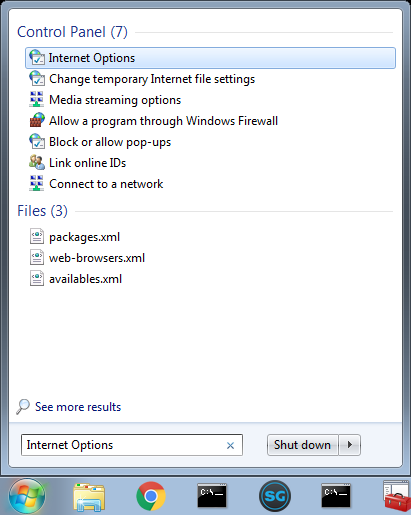 Search Windows for internet options